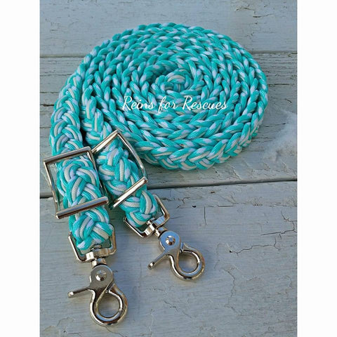 Seafoam & White Adjustable Riding Reins
