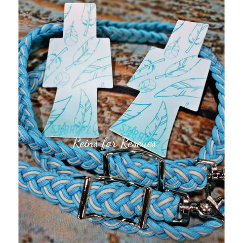 Turquoise & Silver Feather Collection with Stirrupz