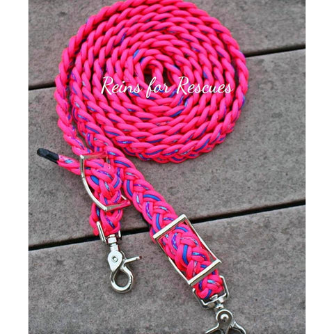 Spirit's Seasonal Adjustable Riding Reins with Hot Pink, Chill, Royal Blue & Fairytale