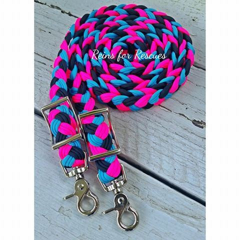 Turquoise, Hot Pink & Black Adjustable Riding Reins