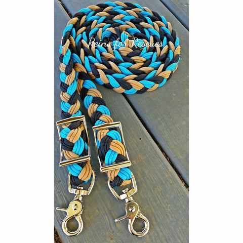 Turquoise, Black & Tan Adjustable Riding Reins