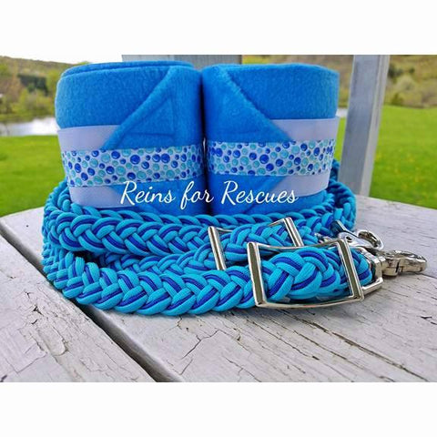 Turquoise Bubbles Riding Set with Polos & Riding Reins Option