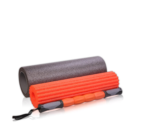 Premium 3 Piece Yoga Roller - Orange & Grey