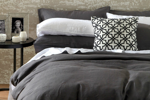 Laundered Linen duvet set, charcoal
