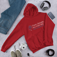 Load image into Gallery viewer, Think Globally. Act Internally. Grow Collaboratively. Hooded Sweatshirt