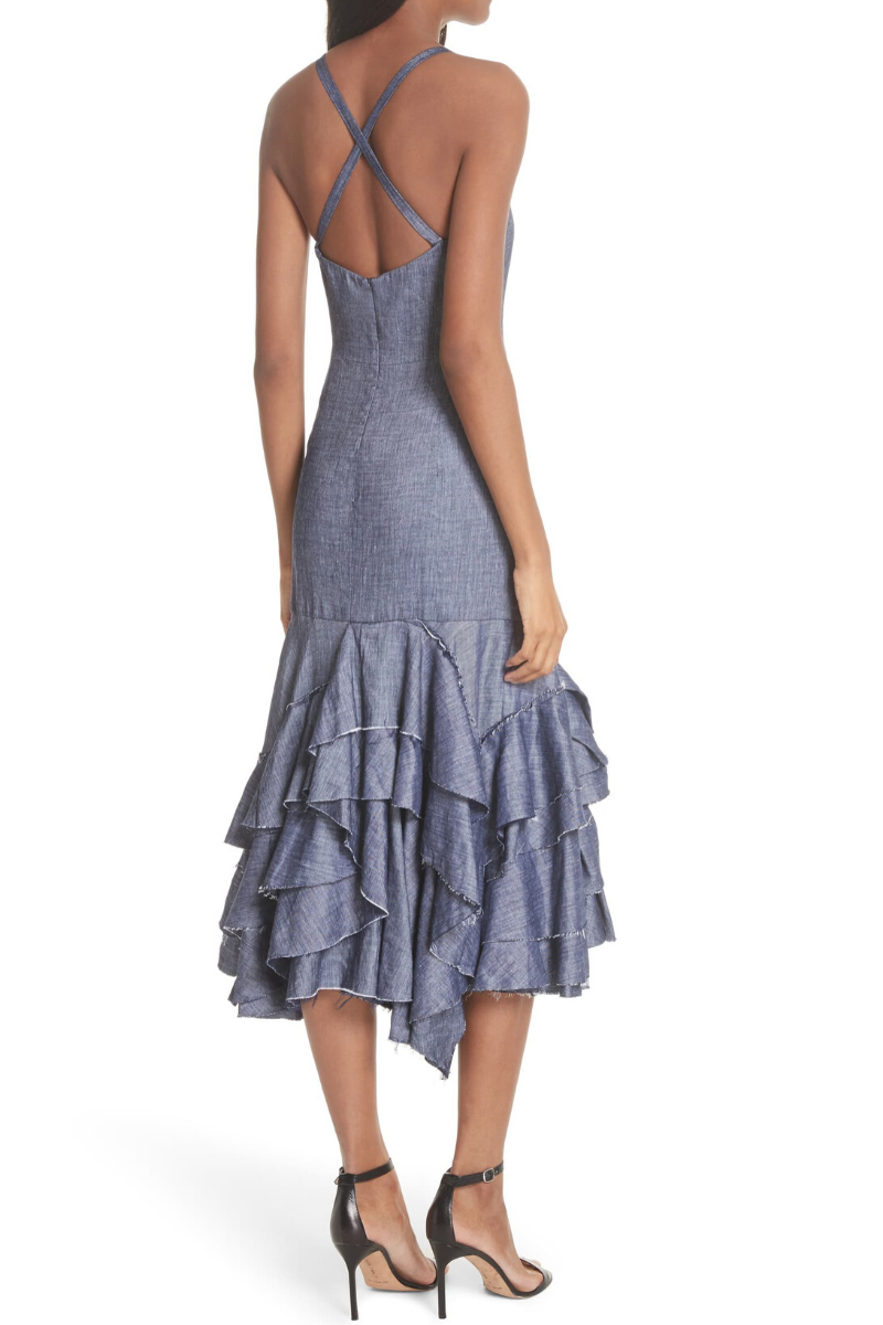 Milly Denim Ruffle Dress