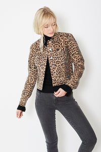Veronica Beard Cheetah Printed Denim Jacket