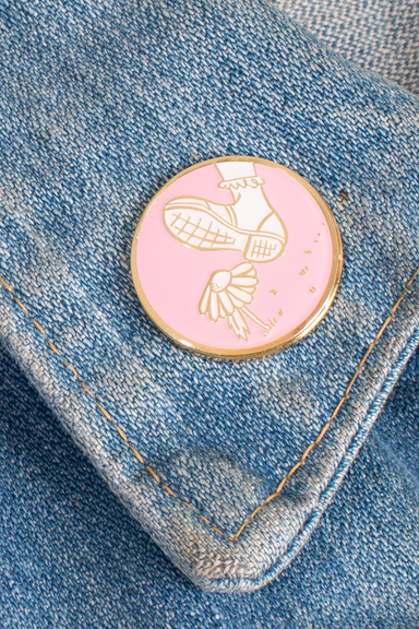 Pink and cream  Casually Cruel Pin on jean jacket