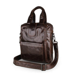 Coffee Genuine Cow Leather Men's Handbag Small Messenger Bag for Ipad