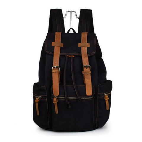 Men Casual Canvas With Leather Backpack Rucksack Bookbag Hiking Bag