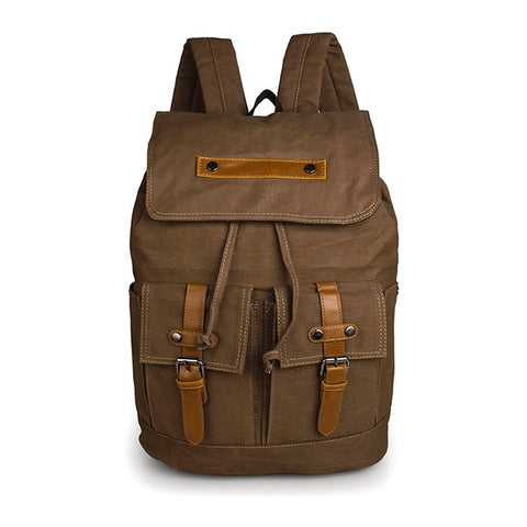 Durable Canvas Rope Top Clousre Laptop Backpack Book Knapsack Coffee