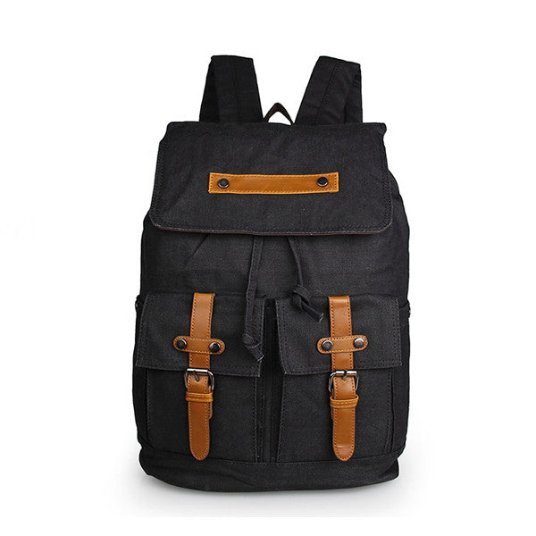 Black Durable Canvas Backpack Rope Top Clousre Book Bag for Young