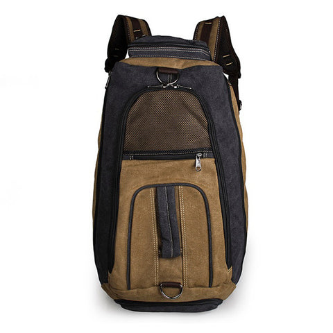 Multifunction Black+Brown Durable Canvas Sport Backpack for Sports