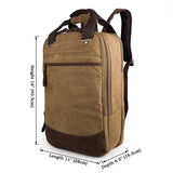 Popular Top Quality Canvas Coffee-Brown Large Capacity Mens Backpack Tote Bag