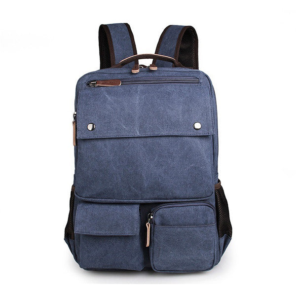 Blue Durable Canvas Rucksack Bookbag Unisex Travel Knapsack