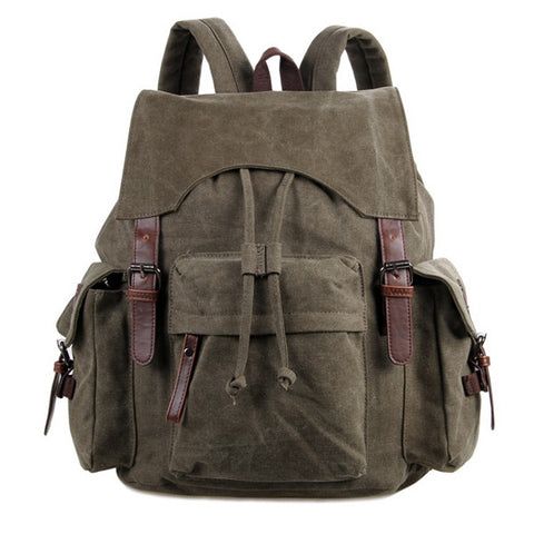Canvas And Leather Lady&Man Trendy Backpack Bag Army Green Color
