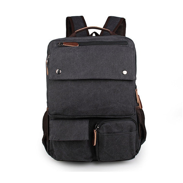 Black Canvas Rucksack Bookbag Travel Backpack