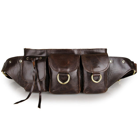 Dark Coffee Vintage Leather New Fashion Unisex Waist Bag Fanny Pack Purse Waist Bag Comfortable
