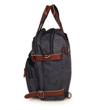 Black Canvas Backpack Men Tote Bag
