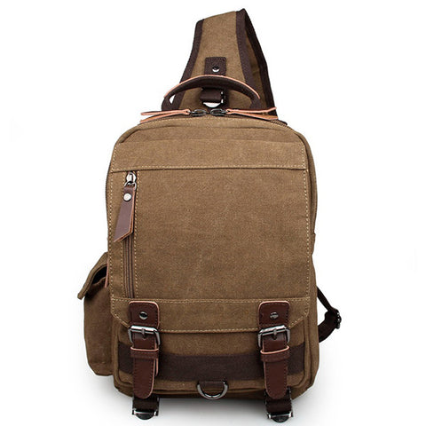 Coffee Canvas Chest Bag Sling Bag for Boy