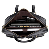 Guarantee Genuine Cow Leather Men's Briefcase Handbag Mens Business Messenger Bag Black