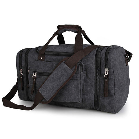 Black Canvas Luggage Travel Tote Bag