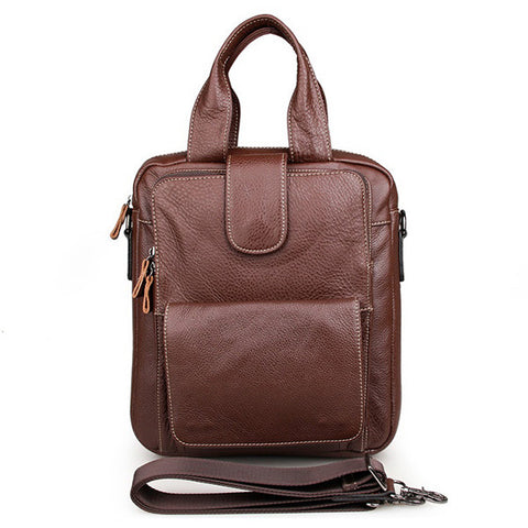 Brown Genuine Cow Leather Men's Handbag Small Sling Notebook Bag