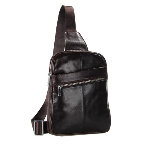 Vintage Leather Fashion Men Coffee Chest Bag Backpack