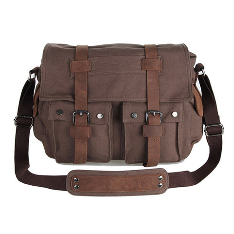New Style Vintage Canvas and leather Men's Coffee Briefcase Messenger Bookbag