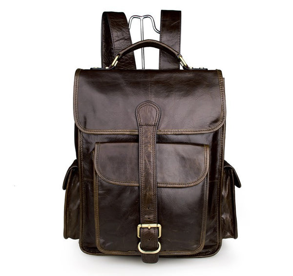 Beautiful Student's Leather Hiking School Backpack