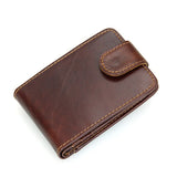 Coffee Cowhide Leather RFID Pocket Card Holder
