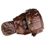Brown Genuine Leather Unisex Casual Backpack