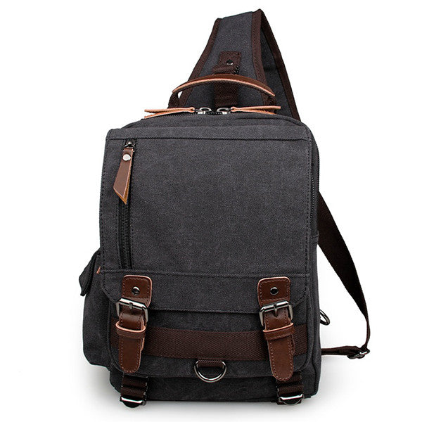 Black Canvas Chest Bag Shoulder Bag Backpack