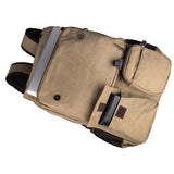 Light Brown Durable Canvas Rucksack Bookbag Unisex Travel Backpack