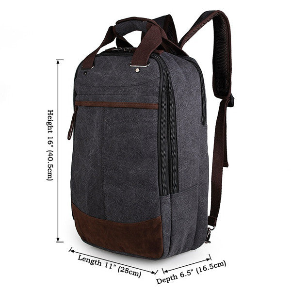 Black High Canvas Quality Useful Laptop Backpack for Men Book Bag