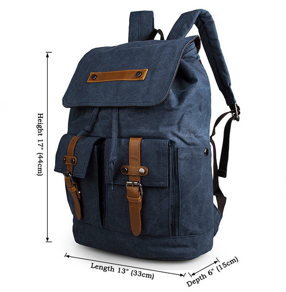 Beautiful Durable Canvas Rope Top Clousre Laptop Backpack Knapsack