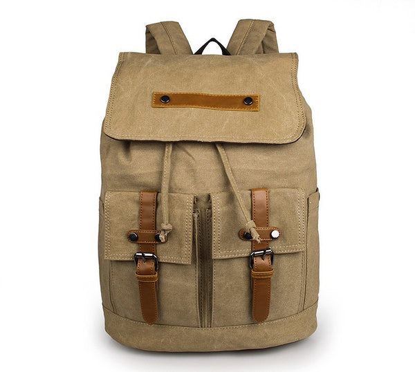 Beautiful Durable Canvas Rope Top Clousre Hiking Laptop Knapsack