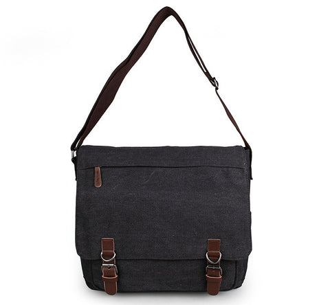 High Quality Men's Leather Trimming Canvas Travel Bookbag