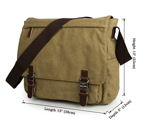 Leather Trimming Canvas Travel Bookbag Messenger Bag for Men