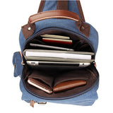 Blue Canvas Chest Bag Shoulder Bag Backpack