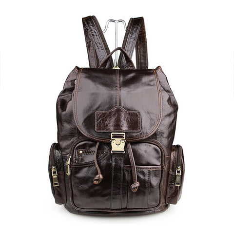 Genuine Leather Hiking Drawstring Backpack for Men Coffee