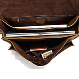 Classic Crazy Horse Leather Men's Briefcase Laptop Handbag