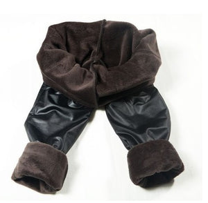 FLEECE LINED BLACK PLEATHER LEGGINGS