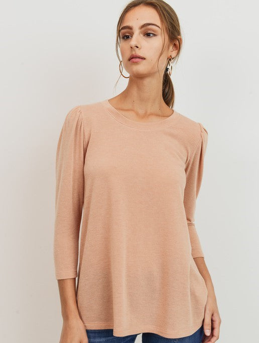 FRENCH TERRY PUFF SLEEVES TOP