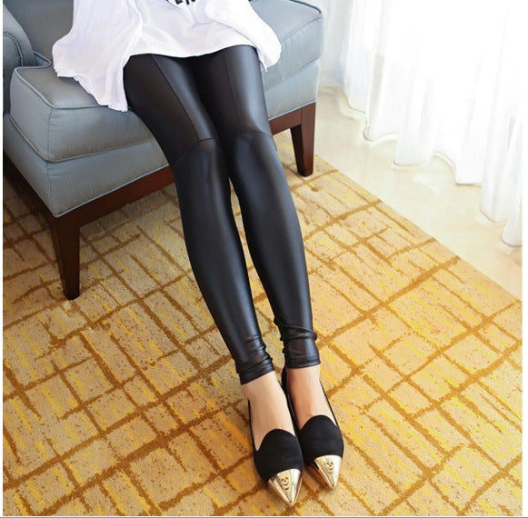 FLEECE LINED BLACK PLEATHER LEGGINGS - Mia Mod
