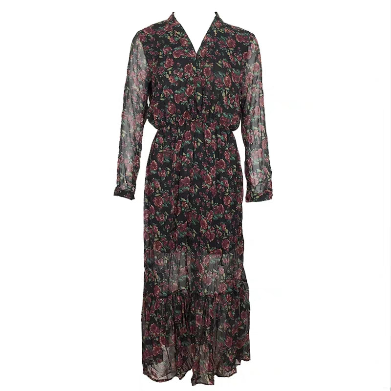 ROSE CHIFFON WRAP DRESS
