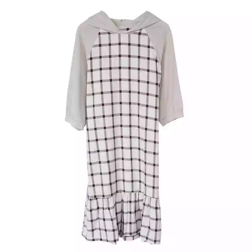 CHECKED HOODIE TSHIRT DRESS