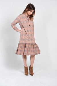 PLEATED CHECKERED SHIFT DRESS