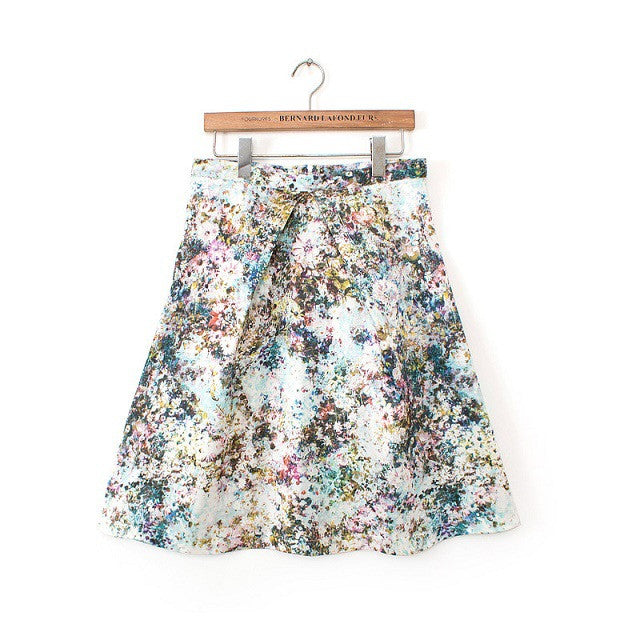 A-Line Front Pleat Floral Skirt