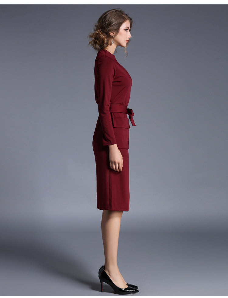 POCKET FRONT SHEATH DRESS